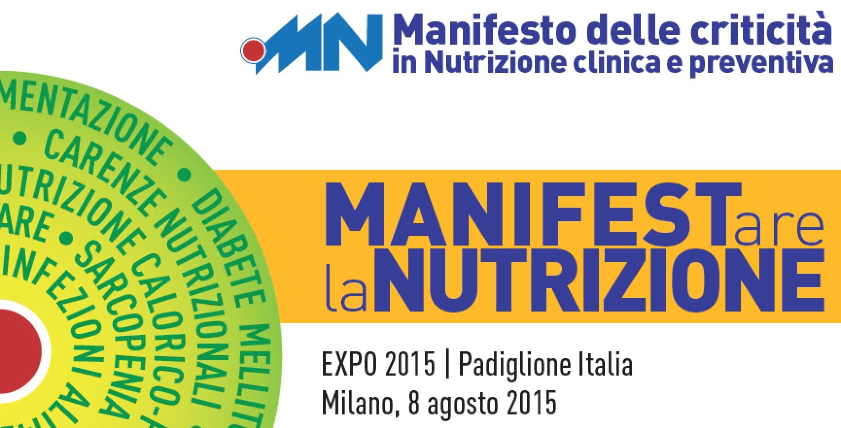 EXPO2015: Presentato Manifesto 10 Criticità nutrizione clinica e preventiva